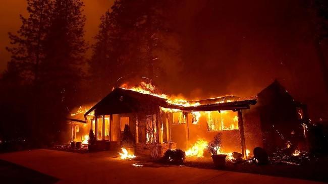 Akibat angin kencang dan kondisi lahan kering, api dikabarkan mampu melahap lahan seluas 80 kali lapangan bola per menitnya. (Justin Sullivan/Getty Images/AFP)