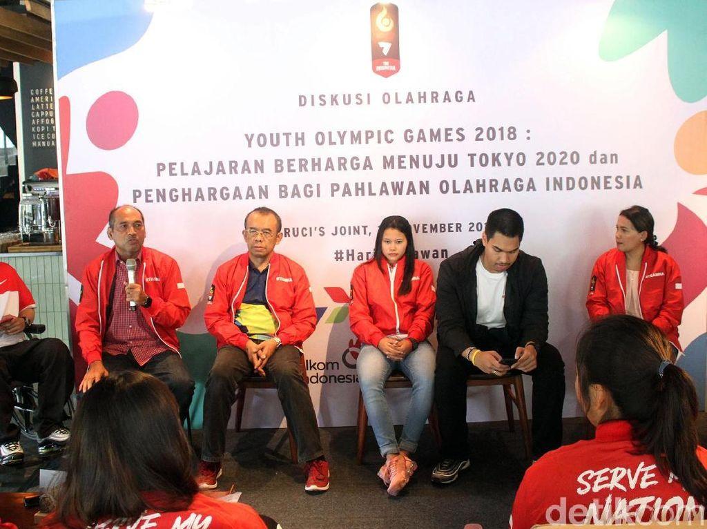 Diskusi olaharga dengan tema Youth Olympic Games 2018: Pelajaran Berharga Menuju Tokyo dan Penghargaan Bagi Pahlawan Olahraga Indonesia itu digelar di Rucis Joint, Jakarta, Sabtu (10/11/2018).