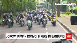 Aksi Presiden Jokowi Pimpin Konvoi Bikers di Bandung