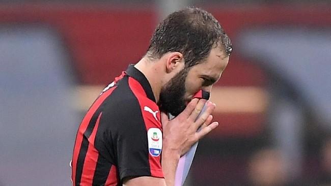 Duel lawan Juventus benar-benar jadi hari yang buruk untuk Gonzalo Higuain. Penalti gagal dan kartu merah menghiasi penampilan lawan mantan klubnya tersebut. (REUTERS/Alberto Lingria)