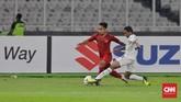 Beberapa perubahan susunan pemain terjadi di laga menghadapi Timor Leste, Andik Vermansah menjadi starter setelah tidak tampil dalam laga melawan Singapura. (CNN Indonesia/Adhi Wicaksono)