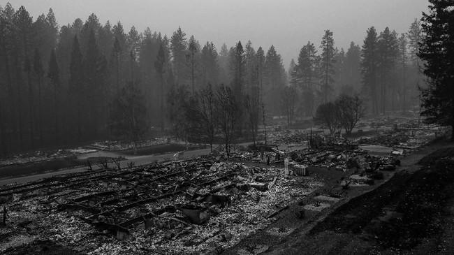 Kebakaran hutan dan lahan di California, Amerika Serikat belum berhasil dipadamkan. Api menerjang sejumlah kawasan hunian elite seperti Paradise City, Malibu, dan Woolsey di Thousand Oaks. (REUTERS/Stephen Lam)