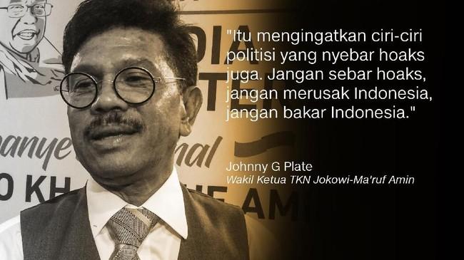 Johnny G Plate, Wakil Ketua TKN Jokowi-Ma'ruf Amin.