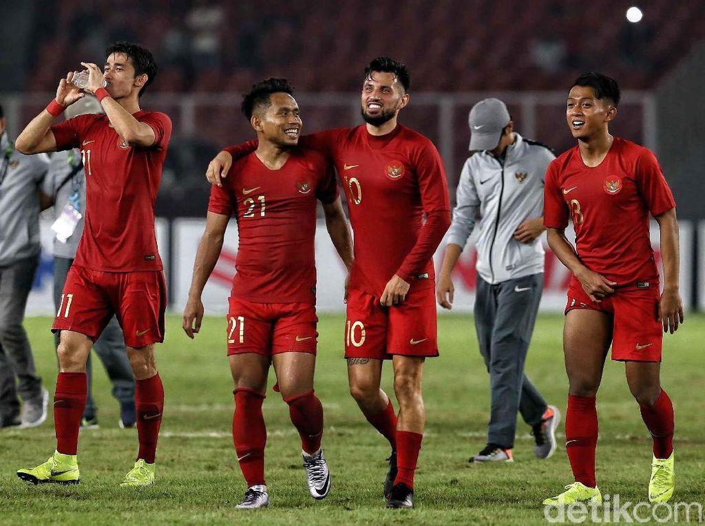 Ekspresi kebahagian terpancar di wajah para pemain Indonesia usai mengalahkan Timor Leste.