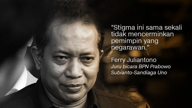 Ferry Juliantono, Juru Bicara BPN Prabowo Subianto-Sandiaga Uno.