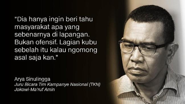 Arya Sinulingga, Juru Bicara TKN Jokowi-Ma'ruf Amin.