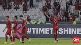 Setelah kalah 0-1 dari Singapura di laga perdana, Timnas Indonesia meraih kemenangan pertama di Piala AFF 2018 dengan memastikan skor 3-1 sebagai hasil akhir ketika menjamu Timor Leste. (CNN Indonesia/Adhi Wicaksono)