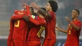 Belgia mencatatkan hasil sempurna. Mereka mengumpulkan sembilan poin dari tiga laga yang telah berlangsung. (REUTERS/Francois Lenoir)