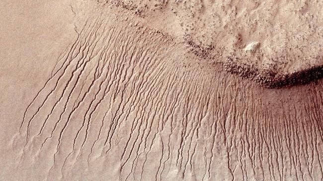 Bagian permukaan Mars menunjukkan banyak saluran pada lereng curam di cekungan Hellas. Para ilmuwan telah menemukan bukti pertama bahwa air asin dapat mengalir di permukaan Mars selama musim panas planet ini. (REUTERS/NASA)