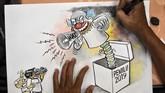 Di masa kampanye ini beragam cara ditempuh baik oleh Komisi Pemilihan Umum maupun oleh partai dan para calon untuk menarik perhatian rakyat.(ANTARA FOTO/Aditya Pradana Putra)