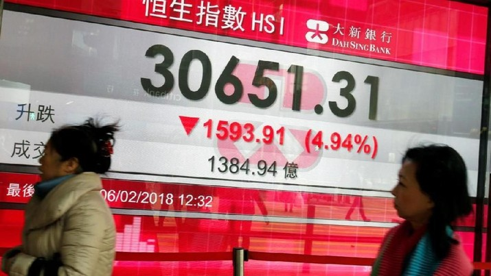 A panel displays the closing morning trading Hang Seng Index outside a bank in Hong Kong, China February 6, 2018. REUTERS/Bobby Yip