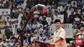 Prabowo, dalam pidatonya di depan relawan mengaku mendapat kekuatan baru untuk menghadapi Pilpres 2019. (CNN Indonesia/Adhi Wicaksono)