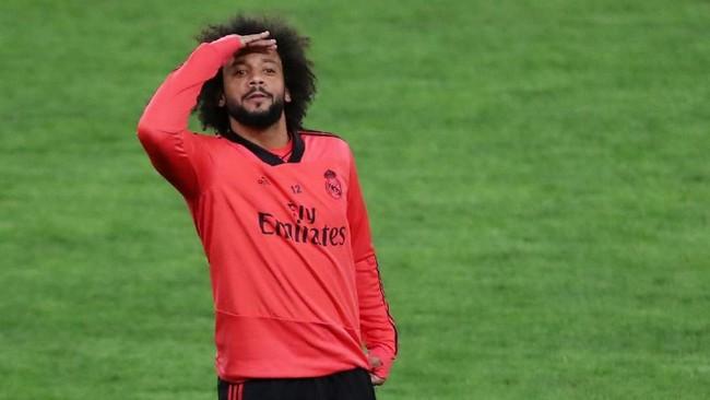 Marcelo salah satu pemain senior yang memiliki pengalaman membawa Real Madrid juara di Liga Champions turut bersiap jelang laga menghadapi Il Lupi. (REUTERS/Tony Gentile)
