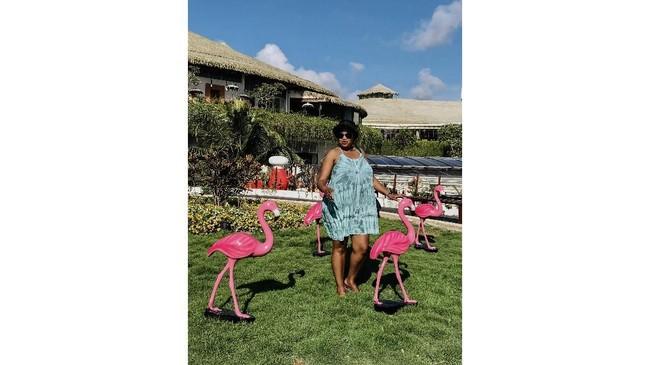 Yetty Kuhn merekam imaji pengunjung yang sedang berfoto dengan deretan patung Burung Flamingo di kawasan Beachwalk Shopping Center Kuta. Warna pink pada patung menjadi perhatiannya. Ia mencoba menerjemahkan sebuah kontradiksi obyek foto dengan lingkungan sekitar.