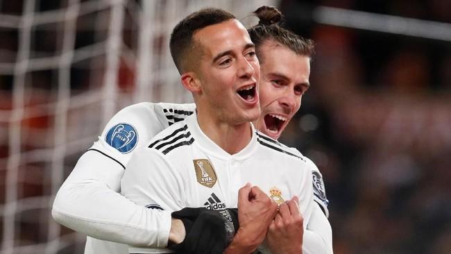 Gareth Bale merayakan gol kedua Madrid yang dicetak Lucas Vazquez pada menit ke-59 usai menerima umpan dari Karim Benzema. (REUTERS/Alessandro Bianchi)