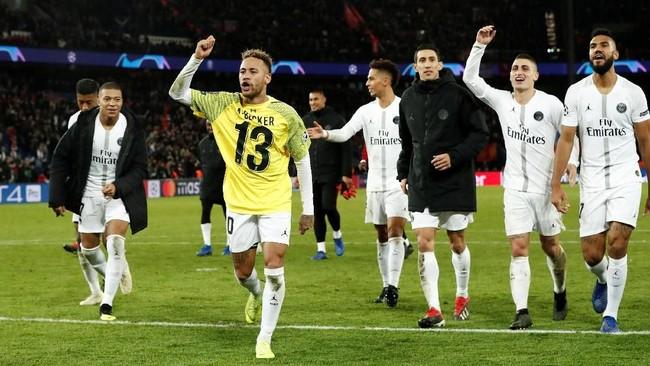 Paris Saint-Germain berhasil meraih tiga poin dan kini mengoleksi delapan poin. (REUTERS/Benoit Tessier)