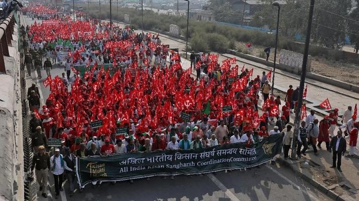 Demo Puluhan Ribu Petani India Turun ke Jalan