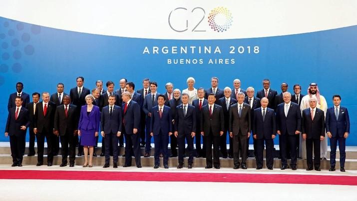 Para pemimpin dunia berkumpul dalam sebuah acara besar pertemuan G20 di Buenos Aires, Argentina, yang disebut diwarnai jurang pemisah terkait perdagangan global