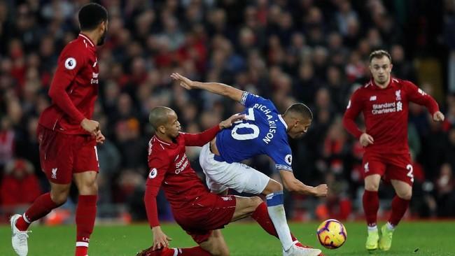 Penyerang Everton asal Brasil Richarlison diklaim ESPN akan mengambil keputusan mengejutkan bergabung dengan Liverpool musim depan. (Reuters/Lee Smith)