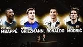 Luka Modric diumumkan sebagai peraih Ballon d'Or. Peringkat kedua diraih Cristiano Ronaldo, sedangkan Lionel Messi kelima. Dua bintang itu tak hadir dalam penghargaan tersebut. (FRANCK FIFE / AFP)
