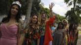 Kontes itu digelar agar para narapidana wanita melupakan kehidupan di balik jeruji dalam sejenak dan menikmati kesenangan dengan berdandan mempercantik diri. (REUTERS/Pilar Olivares)