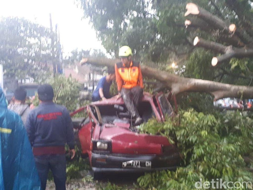 Di lokasi tampak ada puluhan petugas dari BPBD, Damkar, hingga Satpol PP melakukan penanganan. Batang pohon besar yang melintang di tengah jalan dievakuasi manual menggunakan gergaji mesin.