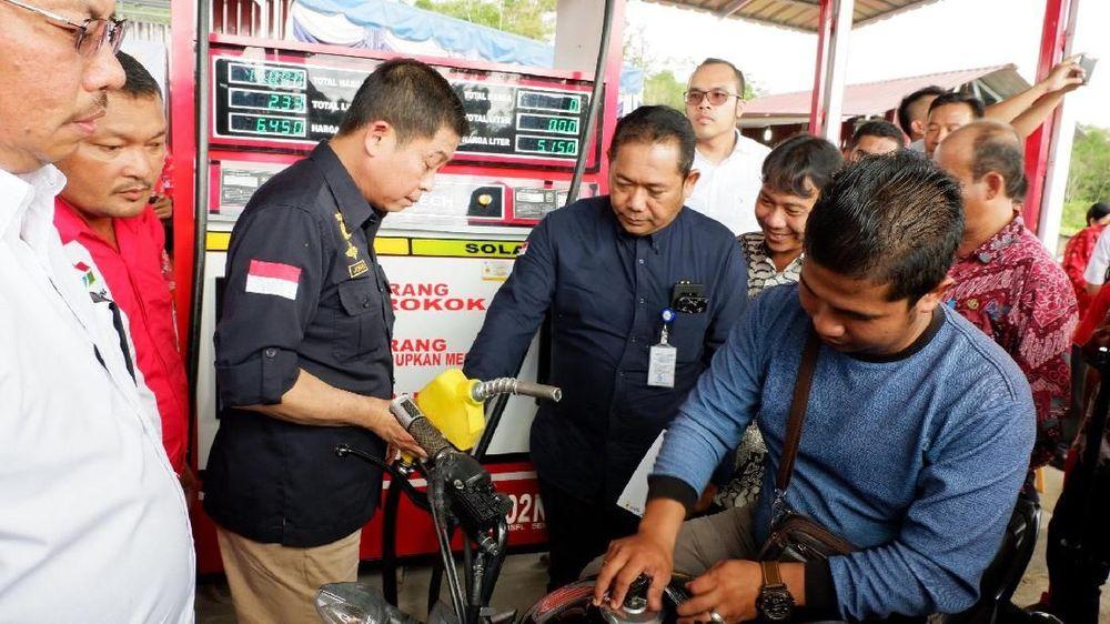 Dua lembaga penyalur di Sumatera Utara ini merupakan titik BBM Satu Harga ke-47 dan 48 yang diresmikan oleh Pertamina di 2018.(CNBC Indonesia/Anastasia Arvirianty)