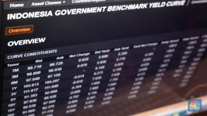 Yield obligasi pemerintah Indonesia naik tajam sepanjang perdagangan pekan ini. Premi risiko utang Indonesia juga naik.