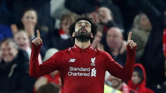 Mohamed Salah melanjutkan tren mencetak gol setelah pada akhir pekan lalu ia mencetak hattrick ke gawang Bournemouth. (Reuters/Carl Recine)