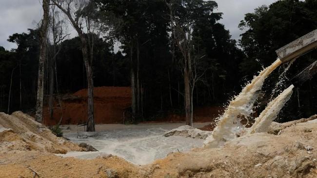 Operasi ini dilakukan untuk memberantas ratusan pertambangan ilegal di Brasil, berdasarkan studi yang dirilis pada Senin lalu. (Reuters/Ricardo Moraes)