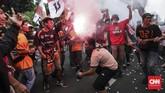 The Jakmaniamenjadi motivator utamaPersija Jakarta untuk meraih gelar Liga 1 2018. Mereka nyaris selalu hadir di manapun Persija Jakarta berlaga.(CNN Indonesia/ Hesti Rika)