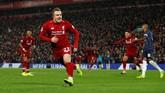 Keputusan Juergen Klopp terbukti tepat lantaran Shaqiri berhasil mencetak goltiga menit setelah ia masuk ke lapangan. Tak hanya itu, Shaqiri berhasil membawa Liverpool unggul 3-1 lewat gol keduanya di menit ke-80. (REUTERS/Phil Noble)