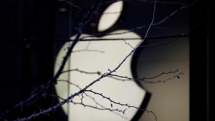 FILE PHOTO: An Apple company logo is seen behind tree branches outside an Apple store in Beijing, China December 14, 2018. REUTERS/Jason Lee/File Photo
