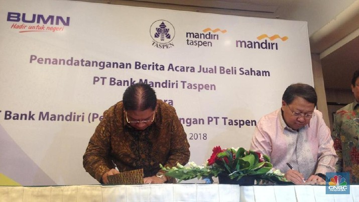Press conference tentang perubahan komposisi saham dan penyuntikan modal Bank Mantap oleh Bank Mandiri dan Taspen
