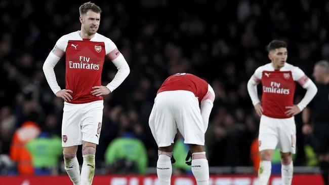 Arsenal harus melupakan mimpi meraih gelar Piala Liga 2018/2019 usai kalah 0-2 di akhir pertandingan. (Reuters/David Klein)