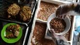 Cha ruoi berupa segepok kue atau roti berisi daging babi, telur, kulit jeruk, dan segenggam cacing goreng. Makanan favorit ini dijajakan di sederet warung di jalanan Kota Hanoi. (Photo by Manan VATSYAYANA/AFP)