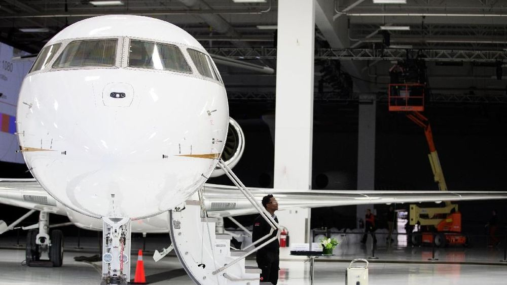 Global 7500 terjual habis hingga tahun 2021, yang pada 2019 akan dikirimkan 19 pesawat dan 2020 sebanyak 2020. (REUTERS/Christinne Muschi)