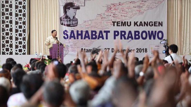 Prabowo Singgung Elite Jakarta di depan Pejuang Timor Timur
