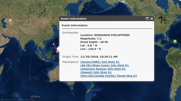Gempa berkekuatan 7,2 magnitude melanda pulau Mindanao di Filipina selatan pada Sabtu (29/12/2018)