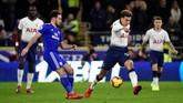 Kemenangan atas Cardiff City membuat Tottenham Hotspur naik ke peringkat dua klasemen Liga Primer Inggris dengan torehan 48 poin, unggul satu poin atas Manchester City. (REUTERS/Rebecca Naden)