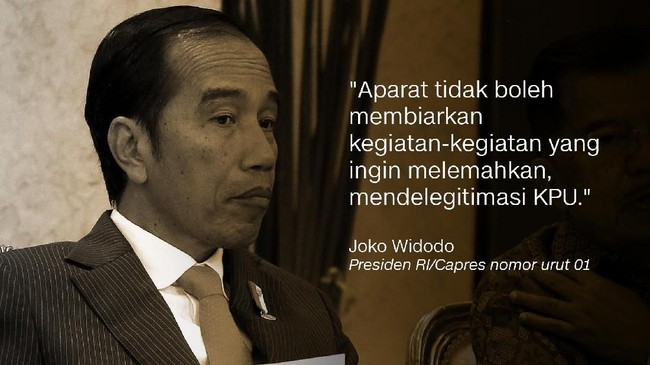 Joko Widodo, Presiden RI/Capres nomor urut 01.