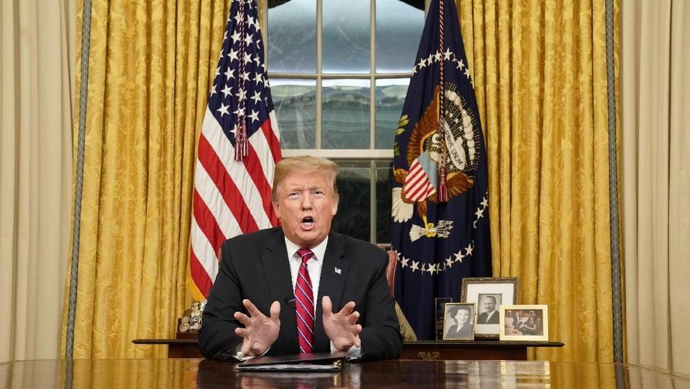 Trump mengatakan dalam pidato perdana kali pertama dari Oval Office bahwa ada krisis keamanan dan kemanusiaan yang meningkat di perbatasan AS-Meksiko. Reuters/Carlos Barria