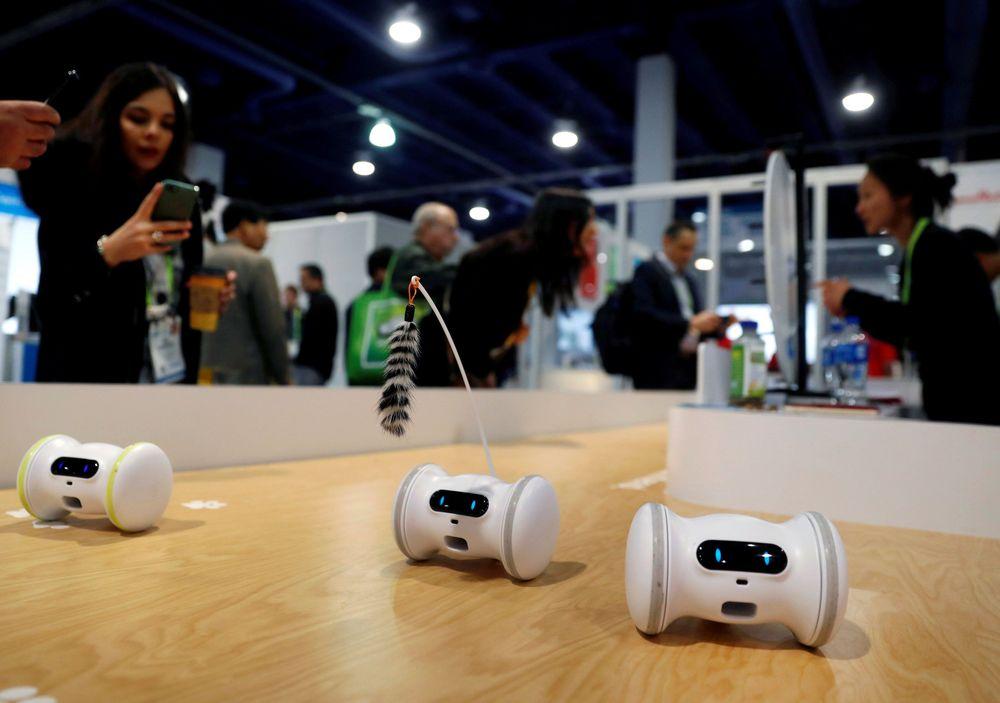 Robot Fitness untuk hewan peliharaan dipertunjukkan di gerai Varlam selama gelaran CES 2019 di Las Vegas, AS. Robot berukuran mini bisa bergerak secara otomatis atau dikendalikan dengan smartphone. (Reuters/Steve Marcus)