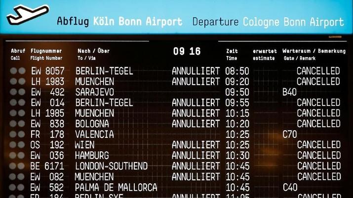 Staf Mogok Kerja, 640 Penerbangan Jerman Dibatalkan