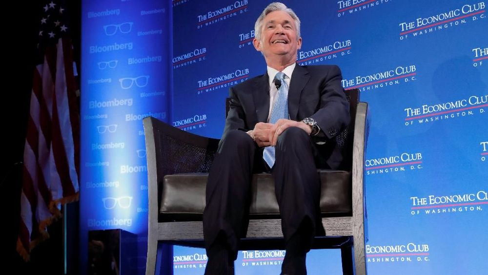 Gubernur bank sentral Amerika Serikat (AS) Federal Reserve, Jerome Powell, berbicara di acara diskusi Economic Club di Washington, AS, Kamis (10/1/2019). (REUTERS/Jim Young)