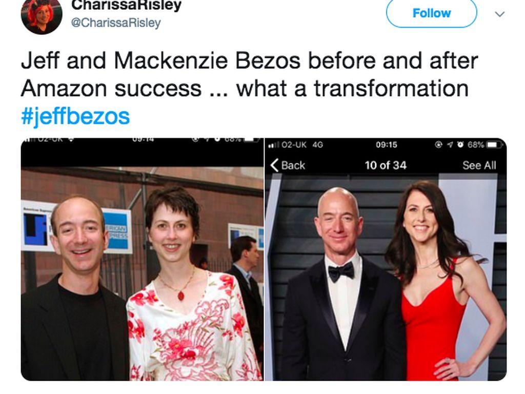 Penampilan sangat berbeda Bezos dan MacKenzie sebelum dan sesudah kesuksesan Amazon. Foto: istimewa