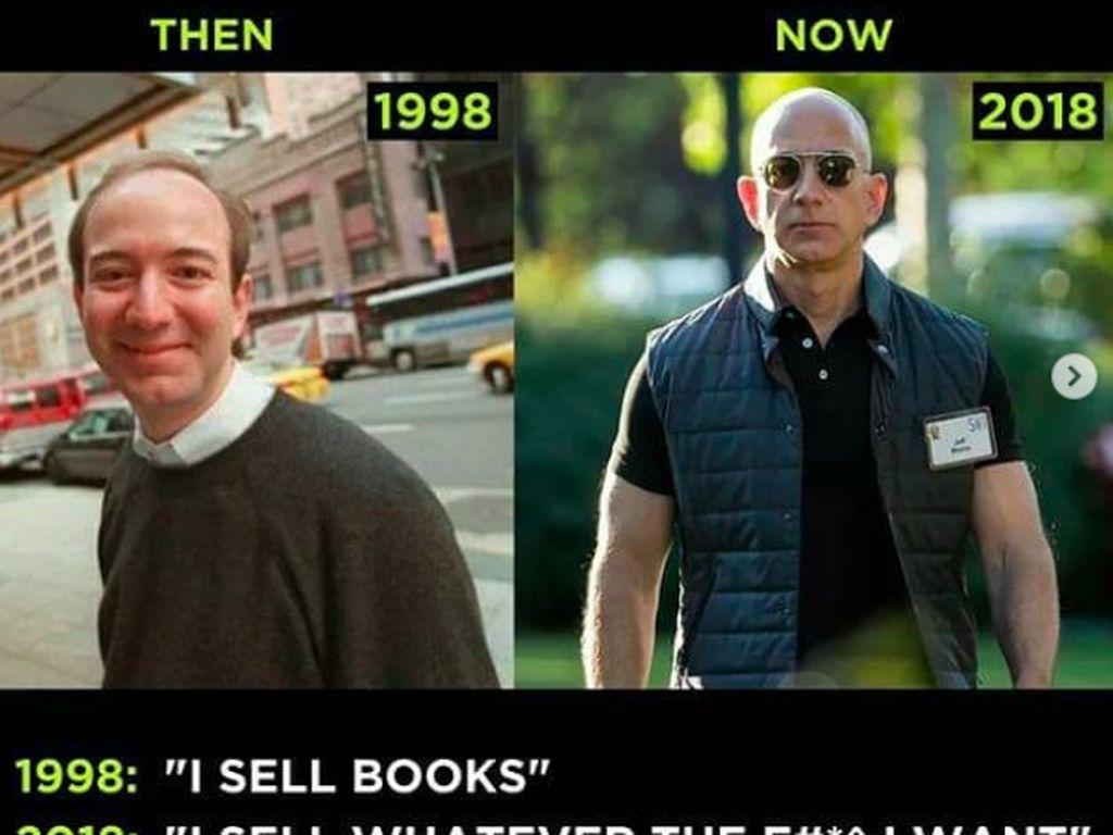 Penampilan Bezos yang dulu dan sekarang tampak berbeda signifikan. Foto: istimewa