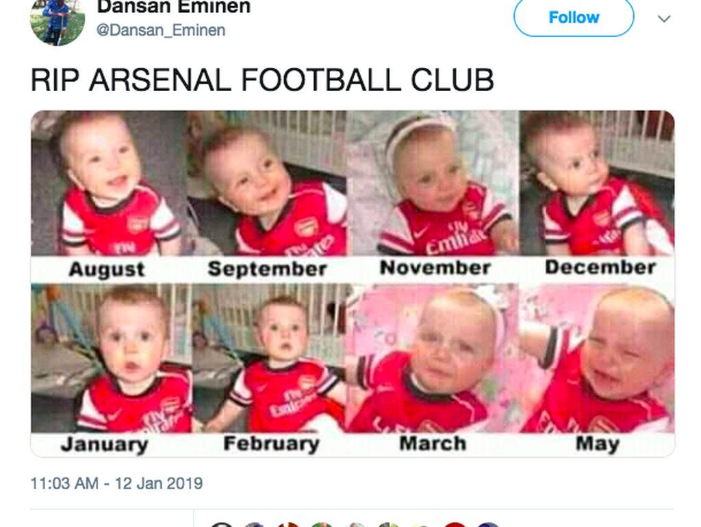 Fans Arsenal biasanya senang di awal musim karena timnya menuai hasil bagus, tapi biasanya melempem menjelang musim berakhir, seperti digambarkan dalam meme ini. Foto: istimewa