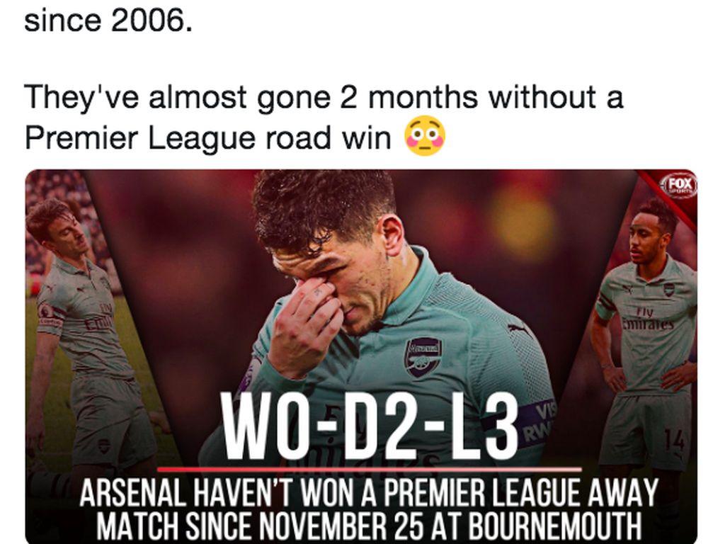 Banyak statistik juga ditebar di media sosial soal Arsenal, antara lain bahwa mereka sudah hampir 2 bulan tak merasakan kemenangan di Liga Inggris. Foto: istimewa