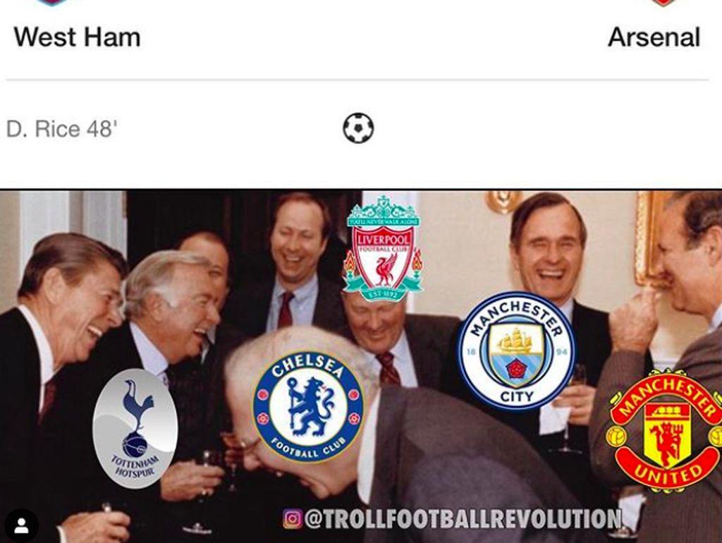 Tim-tim rival digambarkan tertawa menyaksikan nasib buruk Arsenal. Foto: istimewa
